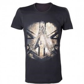 T-shirt Assassin's Creed Syndicate Black Crest British Flag Tamanho M