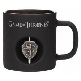 Caneca Game of Thrones Logo 3D Lannister Rotativo Preta