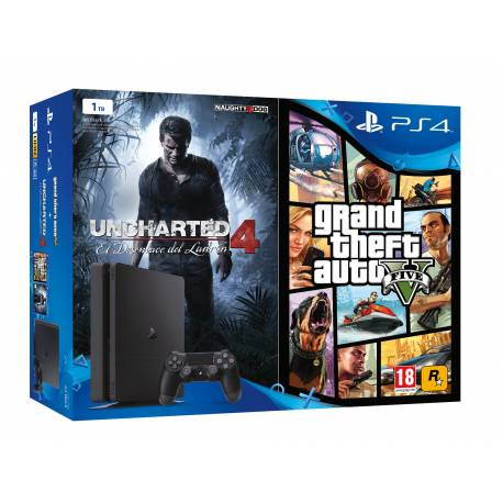 Bundle Consola PS4 Slim 1TB + Uncharted 4 + Grand Theft Auto V