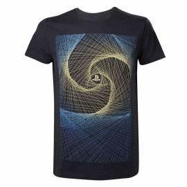 T-Shirt Preta Playstation Logo Wireframe - Tamanho L