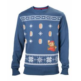 Camisola de Natal Azul Nintendo Mario - Tamanho M