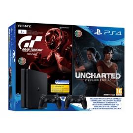 Pack Consola PS4 Slim 1TB + Gran Turismo Sport + Uncharted: O Legado Perdido + Comando Dualshock 4 Extra
