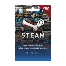 Cartão Steam Wallet 50 Euros (Digital) - (Envio por Email)